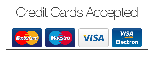 Credit Cards Accepted with icons of Mastercard, Maestro, Visa and Visa Electron